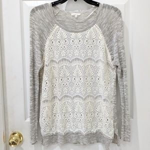 Mystree Lace Front Sparkly Scoop Neck Sweater